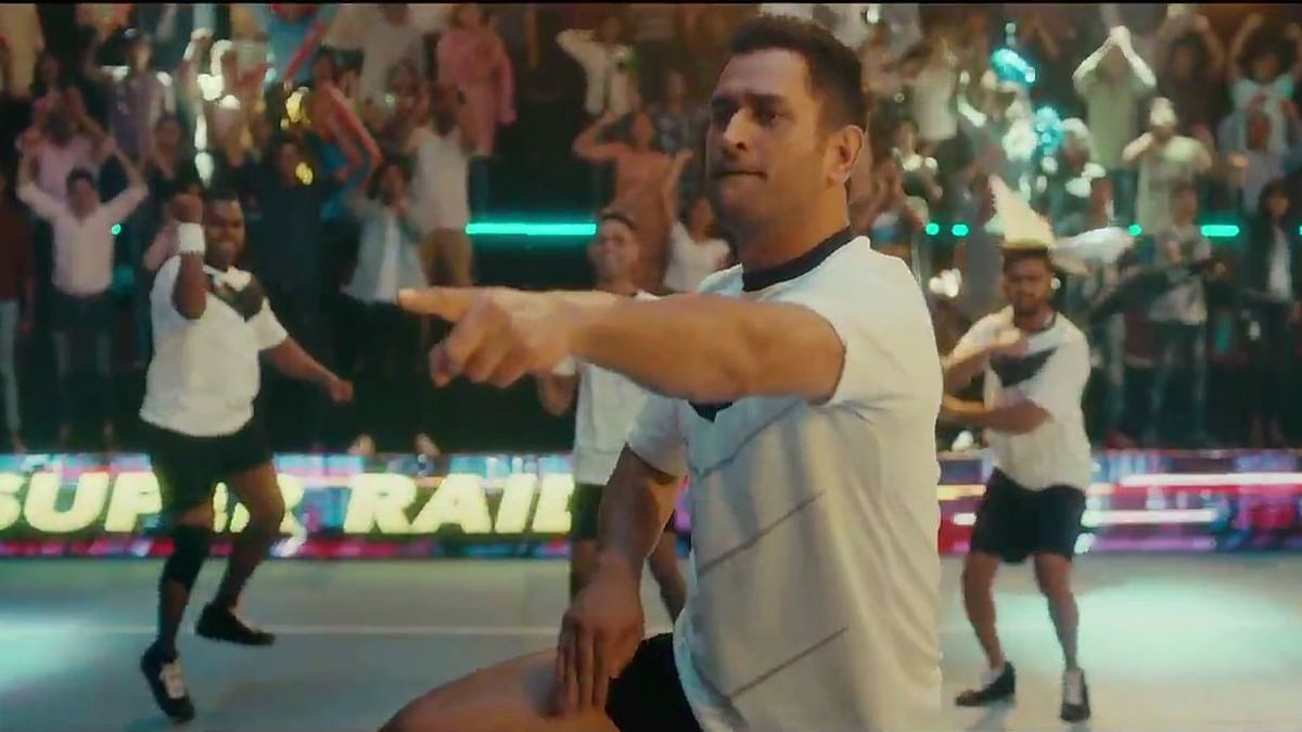 In the 40-second long advertisement, the former Indian captain can be seen playing kabaddi and completing a successful raid.