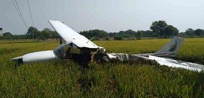 Ranga Reddy: A view of the damaged trainer plane that crashed near Mokila village of Shankarpally Mandal in Ranga Reddy district of Telangana on Nov 21, 2018. (Photo: IANS)