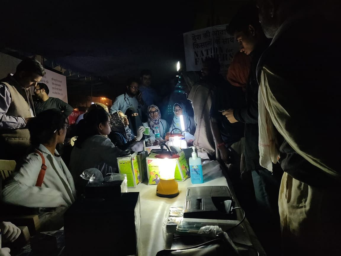 Doctors attending to farmers at the protest venue on Thursday night.