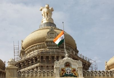 Bengaluru: The national flag flies at half-mast at Vidhana Soudha during a three-day mourning across Karnataka and one-day public holiday declared by the state government as a mark of respect to Union Parliamentary Affairs Minister Ananth Kumar who passed away at a private hospital due to multiple organ failure, in Bengaluru on Nov 12, 2018. (Photo: IANS)