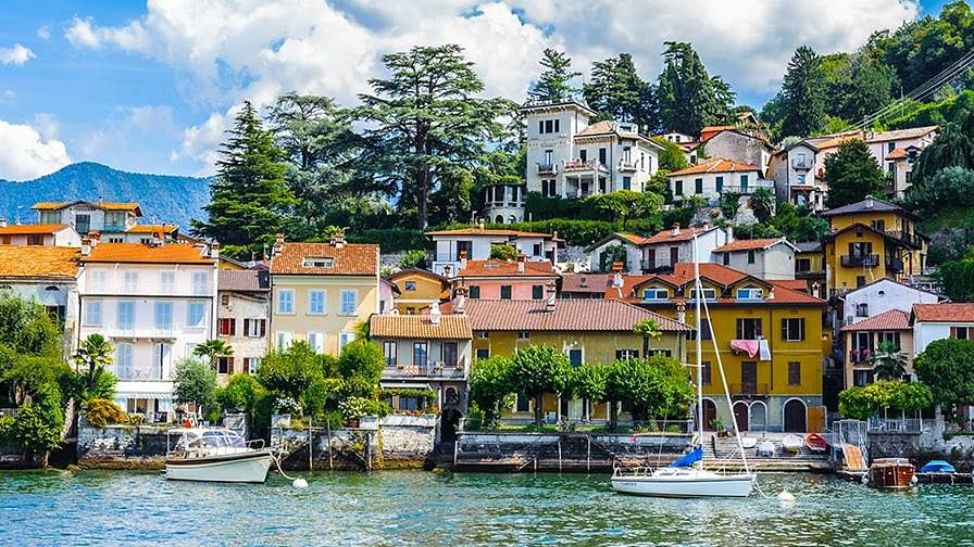 The shores of Lake Como are dotted with villas.