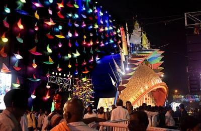 Kolkata: A view of a Kali Puja pandal in Kolkata on Nov 6, 2018. (Photo: Kuntal Chakrabarty/IANS)