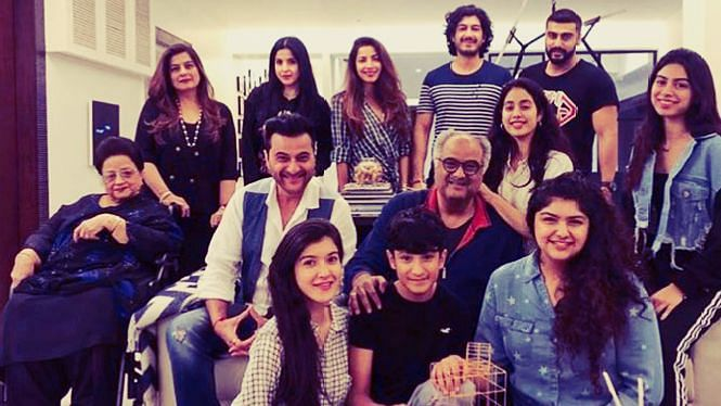 On Boney Kapoor's 63rd birthday, Anshula, Janhvi and Khushi Kapoor brought together the birthday squad to ring in the veteran fimmaker's big day.