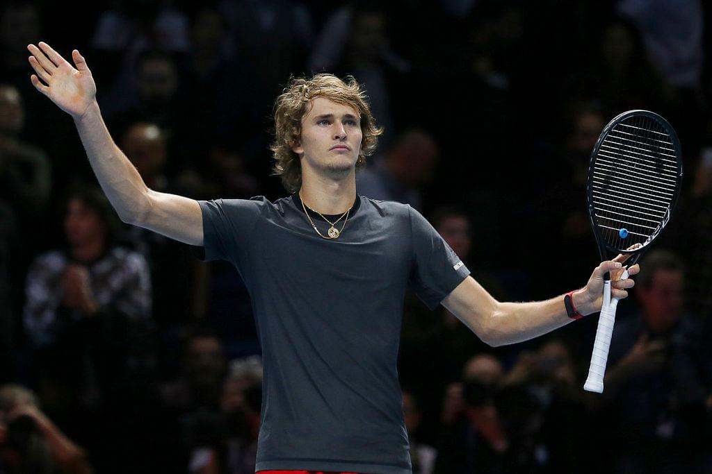 Alexander Zverev of Germany celebrates after beating Roger Federer.