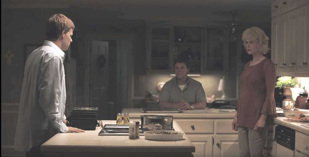 Jared's (Lucas Hedges) parents, Marshall (Russell Crowe) and Nancy (Nicole Kidman) in <i>Boy Erased.</i>