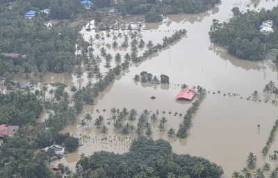 An aerial view of the flood-hit areas of Kerala on 18 August 2018. Overflowing rivers and a series of landslides have caused the death of 180 people as of Saturday morning, with over three lakh people forced to move to some 2,000 relief camps.