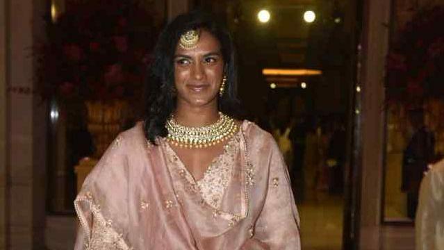 PV Sindhu at the Bengaluru wedding reception of Ranveer Singh and Deepika Padukone.