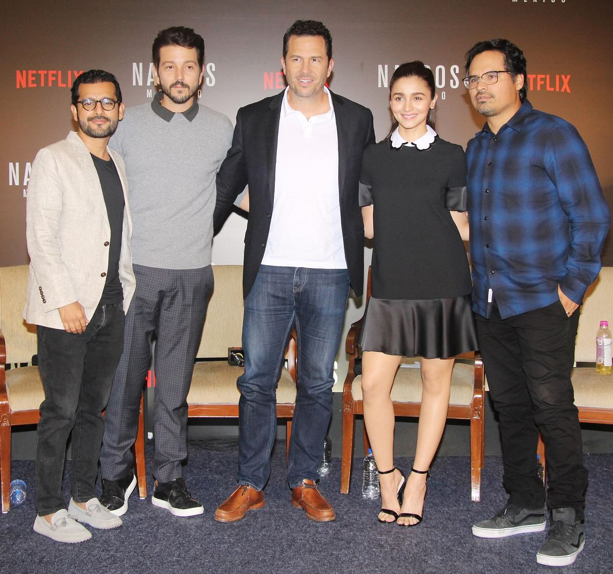 Shakun Batra, Diego Luna, Eric Newman, Alia Bhatt and Michael Pena at the panel discussion for <i>Narcos: Mexico</i>.