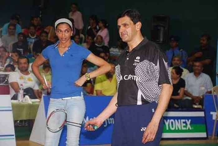 Deepika leaning badminton fro her coach and father Prakash Padukone.