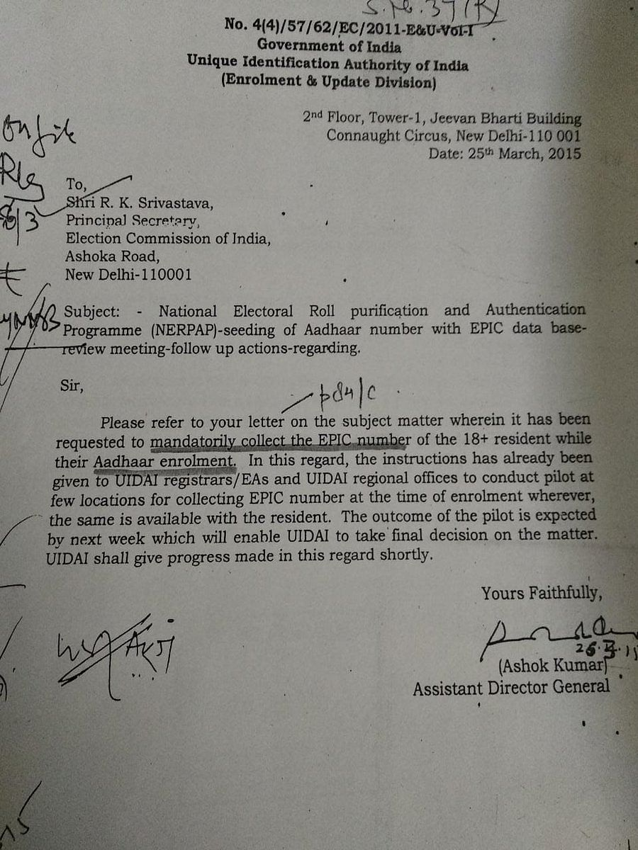 Election Commission letter to UIDAI requesting mandatory collection of EPIC number during Aadhaar enrolments.