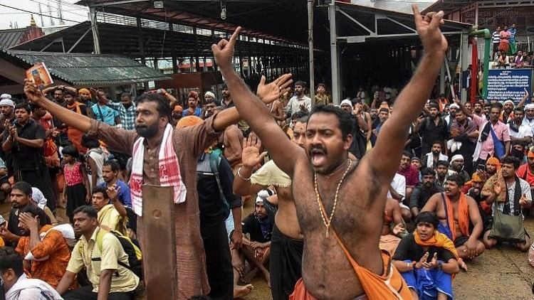 On 17 and 18 October, when the temple reopened for the first time since the judgement lifting the ban was passed, protests led by right-wing groups broke out in Sabarimala.
