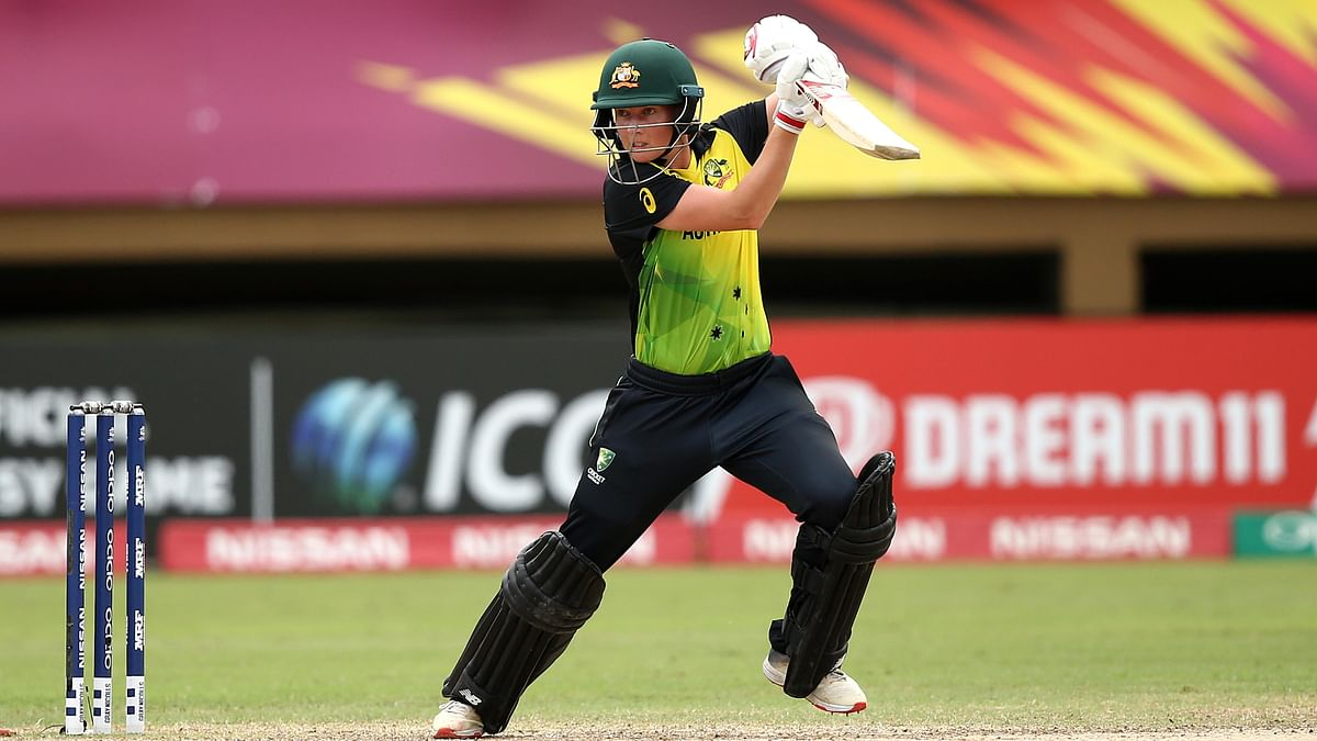 Meg Lanning bats during the ICC Women's World T20 match against India.
