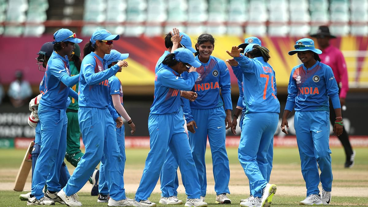 Women's World T20: Indian players celebrate a wicket during their group stage match against Pakistan.