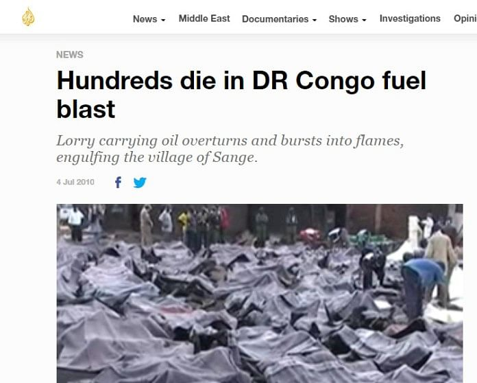 Several news outlets had published images of 2010 Congo fuel blast.