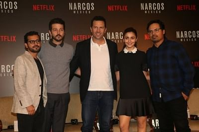 Mumbai: Actor Alia Bhatt, Diego Luna, Michael Pena, director Shakun Batra and producer Eric Newman during a special panel discussion hosted by Netflix in Mumbai on Nov 12, 2018. (Photo: IANS)