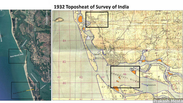 Image on the left is from Google Earth and on the right is a 1932 map from the Survey of India.Left: The mouth of the Sharavathi river has moved over 4 km from Kasarkod (south) to opposite Karki village (north). Right: A 1932 map of the same region that shows the position of the mouth of the Sharavati river. The island of Pavinkurve is a longer stretch of land and Karki village merely had a stream in front of it, instead of the Arabian sea