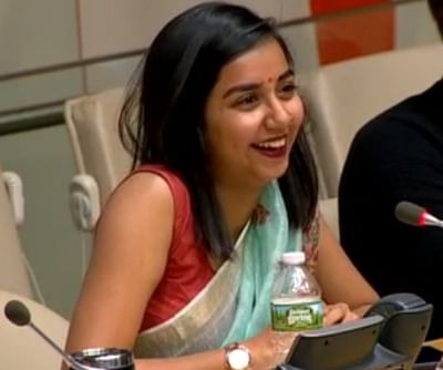"""The Indian YouTube personality Prajakta Koli speaks after the premiere of her video, """"No Offence,"""" during the International Day for Tolerance event organised by the UN Department of Public Information on Friday, Nov. 16, 2018. (Photo: UN/IANS)."""