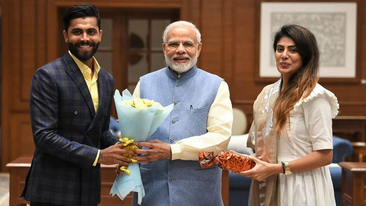 Cricketer Ravindra Jadeja, Wife Rivaba Meet PM Narendra Modi