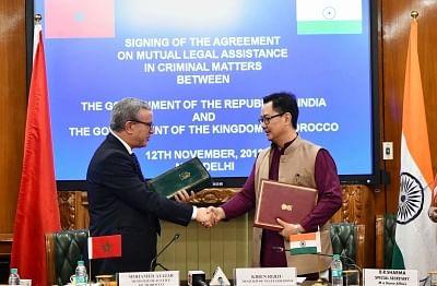 New Delhi: Union MoS Home Affairs Kiren Rijiju and Morocco