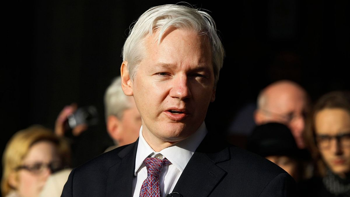 In this 5 Dec 2011, file photo, WikiLeaks founder Julian Assange makes a statement to the media gathered outside the High Court in London.