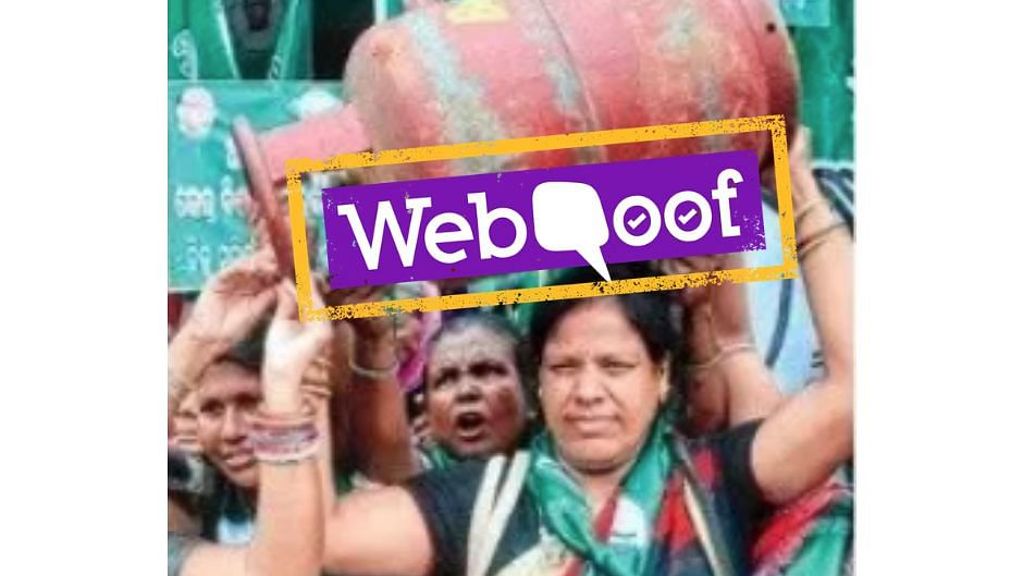 A viral image of protest in Orissa was edited to claim women in Kerala are more upset about hike in LPG price.