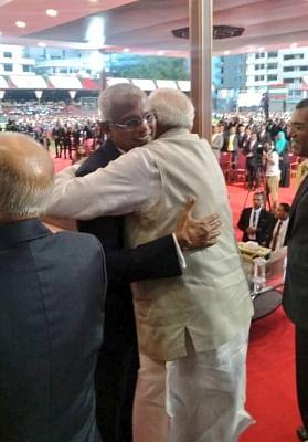 Male: Prime Minister Narendra Modi greets the new Maldives President Ibrahim Mohamed Solih at the latter