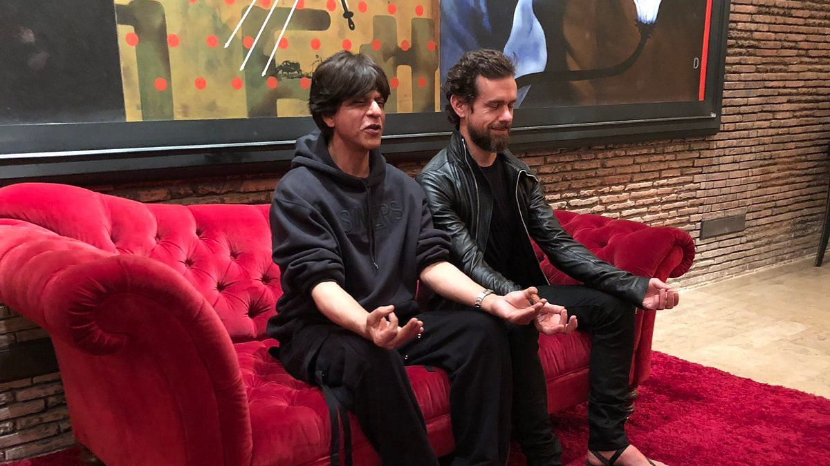 Twitter CEO Jack Dorsey (right) with Shah Rukh Khan (left).