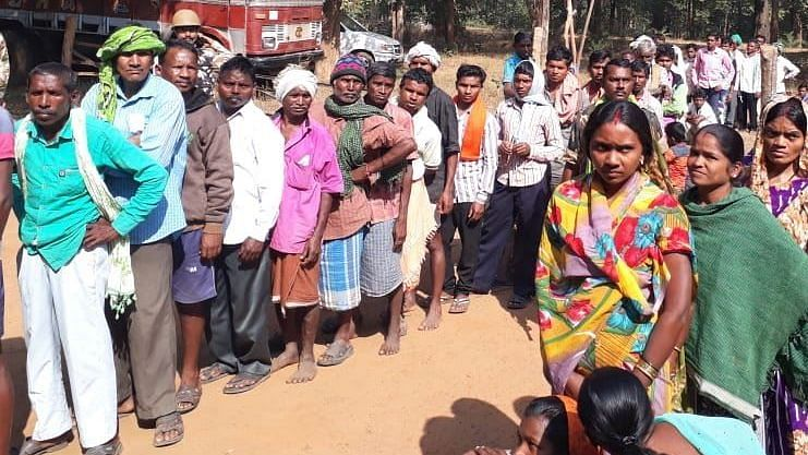 Voters lined up at a polling booth during the first phase of voting in Chhattisgarh.