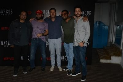 Mumbai: Actor Saif Ali Khan and director Anurag Kashyap with Narcos actors Diego Luna and Michael Pena and show creator Eric Newman during the meet and greet programme with team of web series Narcos: Mexico season 2 in Mumbai, on Nov 11, 2018. (Photo: IANS)