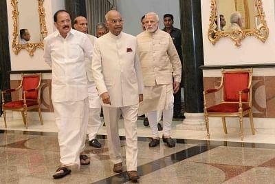 President Ram Nath Kovind, Vice President M. Venkaiah Naidu and Prime Minister Narendra Modi. (Photo: IANS/RB)