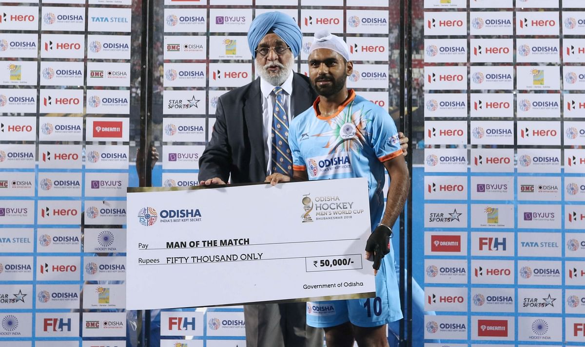 Simranjeet Singh was named man of the match after India's World Cup opener against South Africa.