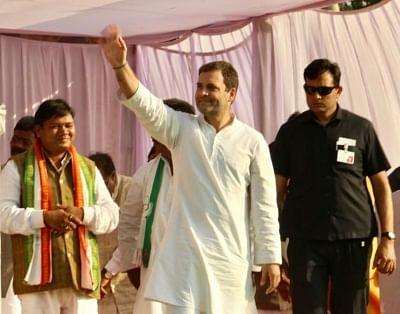 Darima: Congress President Rahul Gandhi waves at supporters during a public meeting in Darima, Chhattisgarh on Nov 17, 2018. (Photo: IANS)
