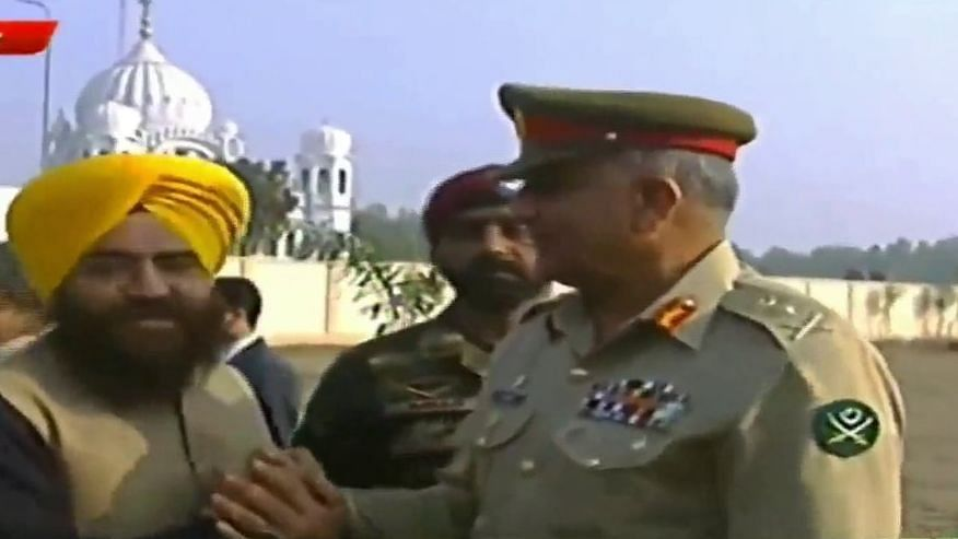 Pro-Khalistan Supporter Spotted With Pak Army Chief in Kartarpur