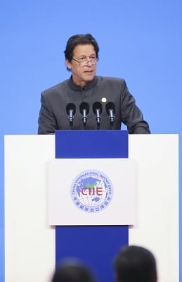 SHANGHAI, Nov. 5, 2018 (Xinhua) -- Pakistani Prime Minister Imran Khan addresses the opening ceremony of the first China International Import Expo in Shanghai, east China, Nov. 5, 2018.(Xinhua/Yao Dawei/IANS)