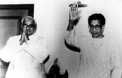 Atal Bihari Vajpayee with Bal Thackeray.