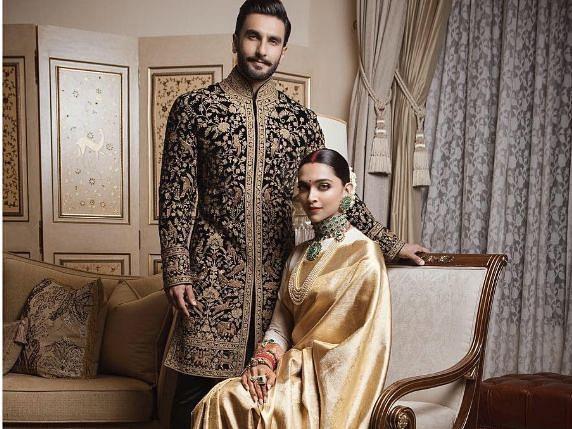 Deepika Padukone and Ranveer Singh on their wedding reception in Bengaluru.