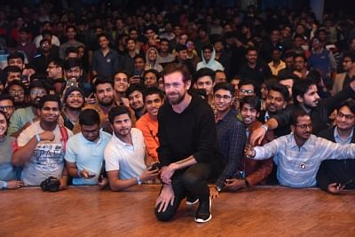"New Delhi: Twitter Co-founder and CEO Jack Dorsey poses with the students of IIT Delhi at the launch of a ""youth initiative"", on Nov 12, 2018. (Photo: IANS)"