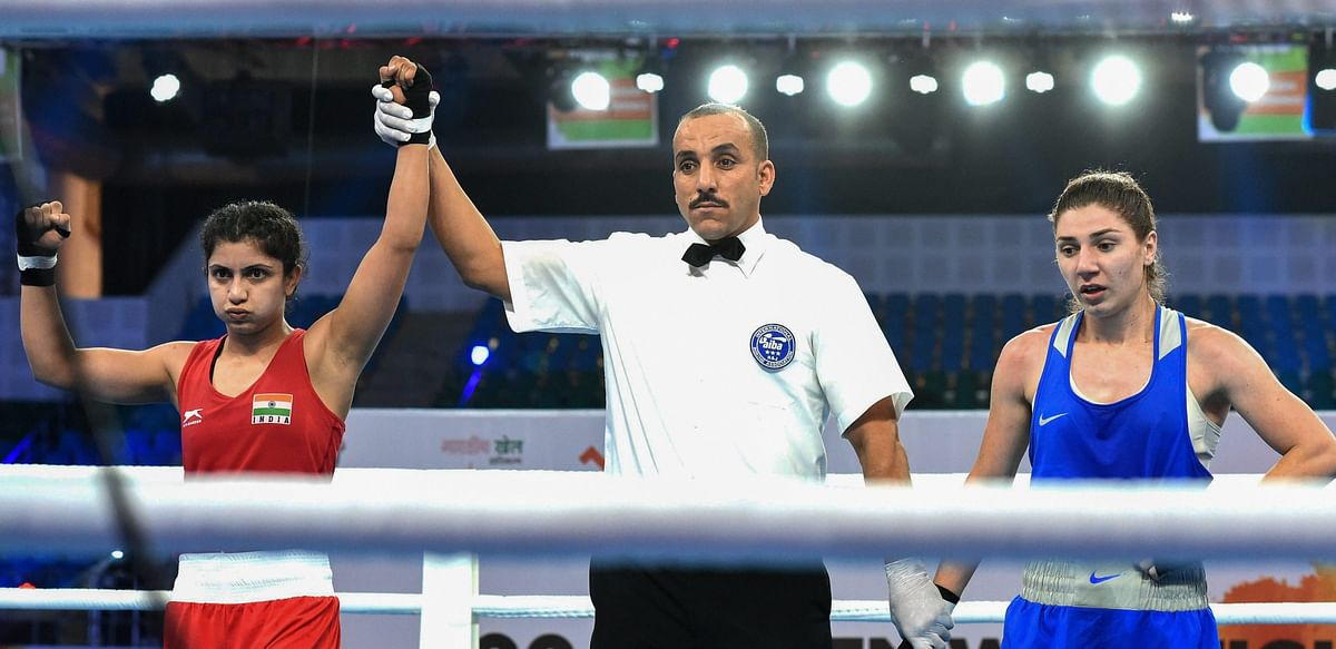 Pinki Rani is declared the winner after her bout at the World Boxing Championship.