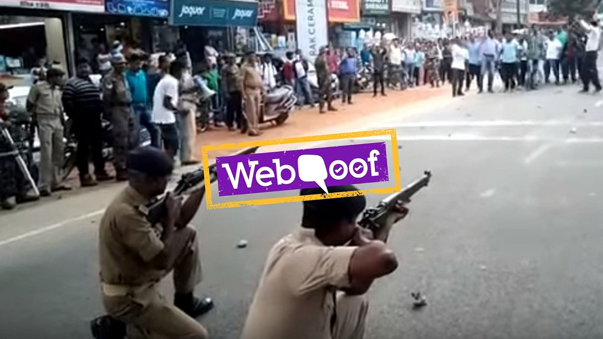 A video of police officers kneeling on the ground and apparently firing at a group of protesters has gone viral on social media.