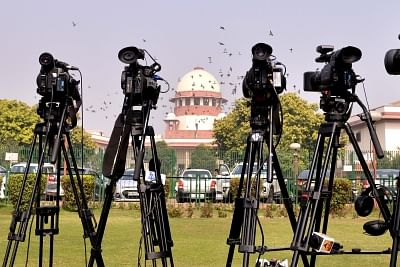 New Delhi: Active presence of media seen outside the Supreme Court as the apex court hears several cases related to the CBI row, Sabarimala temple issue and the Rafale deal, as it re-opened after Diwali break, in New Delhi on Nov 12, 2018. (Photo: IANS)