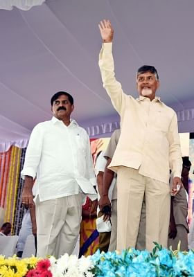 Kadapa: Andhra Pradesh Chief Minister N. Chandrababu Naidu at the foundation stone laying ceremony of a steel plant in Kadapa on Dec 27, 2018. (Photo: IANS)