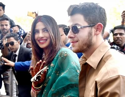Jodhpur: Actress Priyanka Chopra and her husband Nick Jonas depart from Jodhpur on Dec 3, 2018. (Photo: IANS)