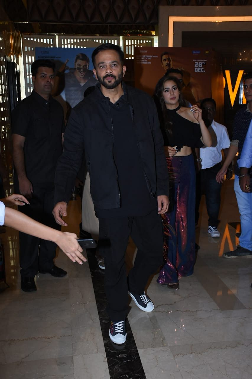 Rohit Shetty with Sara Ali Khan at trailer launch.