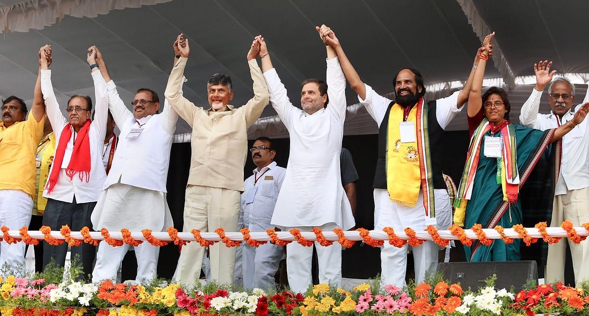 Congress President Rahul Gandhi with Andhra Pradesh CM Chandrababu Naidu during a public meeting in poll-bound Telangana in December 2018.