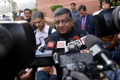 New Delhi: Union Minister and BJP MP Ravi Shankar Prasad talks to the media at Parliament in New Delhi, on Dec 27, 2018. (Photo: IANS)