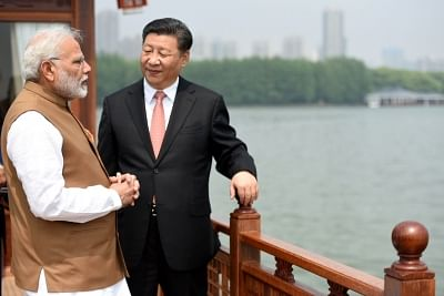 Wuhan: Prime Minister Narendra Modi and Chinese President Xi Jinping inside a house boat, in Wuhan on April 28, 2018. (Photo: IANS/PIB)