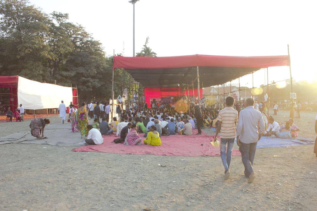 Tent set up at Mumbai's Azad Maidan.
