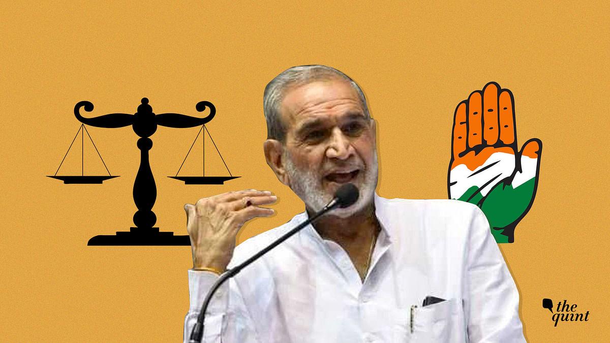 Image of Sajjan Kumar and Congress 'hand' symbol used for representational purposes.
