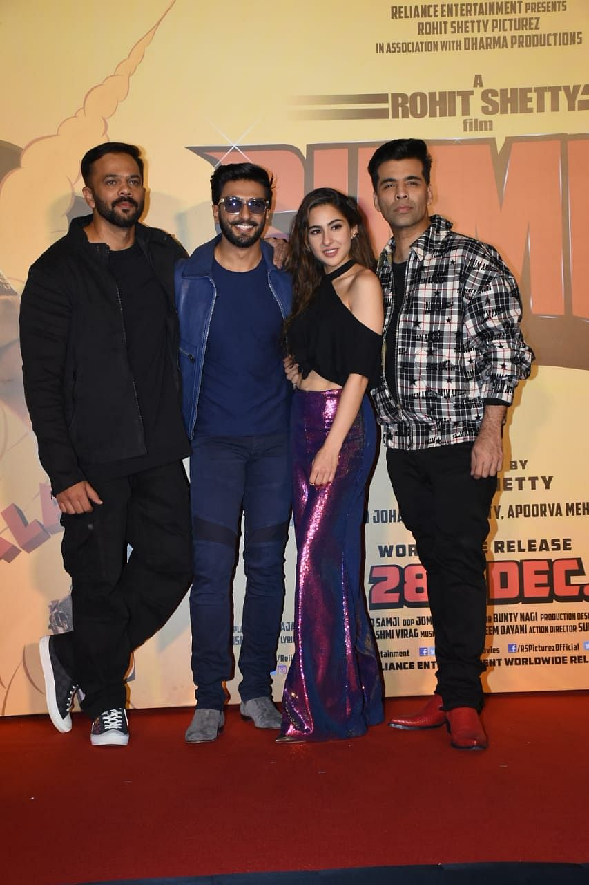 Rohit Shetty, Ranver Singh, Sara Ali Khan and Karan Johar at the launch.