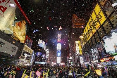 Revellers attending New Year